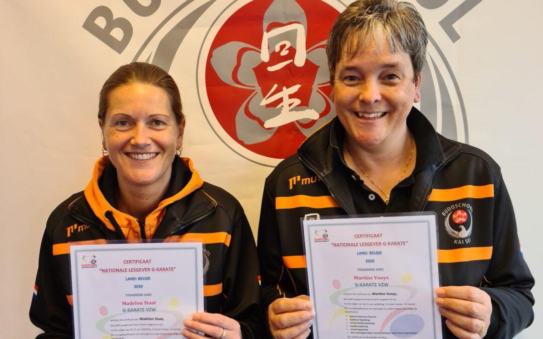 Waardevol diploma G-Karate voor Martine en Madelon van Kai Sei.
